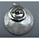 Round Shape Pendant with Spiral Symbol - Shell Silver