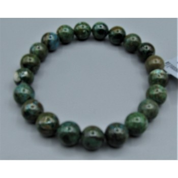 9 - 10 mm Gemstone Round Bead Bracelet - Chrysoccolla