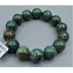 15 mm Gemstone Round Bead Bracelet - Chrysoccolla