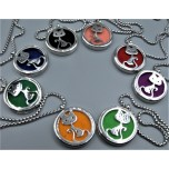 Cage Necklace with Cat - Stainless Steel/Base Medal - 32 inches - Assorted color