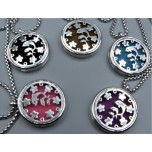 Cage Necklace with Dolphin - Stainless Steel/Base Medal - 32 inches - Assorted color