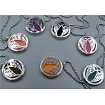 Cage Necklace with Angel Wing - Stainless Steel/Base Medal - 32 inches - Assorted color