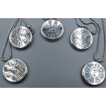 Cage Necklace with Eight Trigrams - Stainless Steel/Base Medal - 32 inches - Assorted color