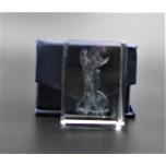 Crystal imitation Quartz Rectangle w Bear  (3 x 3 x 4 cm)