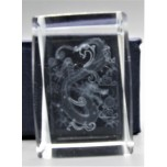 Crystal imitation Quartz Rectangle w Dragon (3 x 3 x 4 cm)