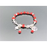 Crystal Bracelet - Red color bead with Trees