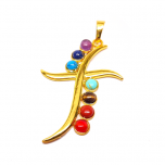 Curved Cross Chakra Pendant | Gold Plated