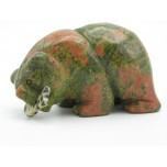 Bear with fish 2.25 Inch Figurine - Unakite