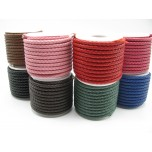 5mm Braided Leather Cord 6 Meters Spool - assorted colors available!