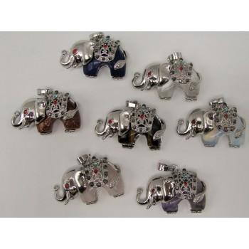 Wrapped Gemstone Elephant Jeweled Pendant - Silver Color