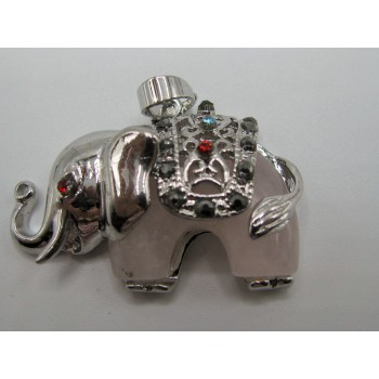 Wrapped Gemstone Elephant Jeweled Pendant - Silver Color