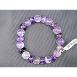 Polished Gemstone Disc and Round Bead Bracelet - Amethyst