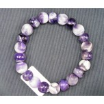 Matte Gemstone Disc and Round Bead Bracelet - Amethyst