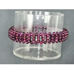 3mm Ladder Style Stretch Bracelet - Garnet