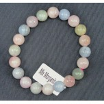 9mm  Gemstone Multi Color Morganite Bead Bracelet