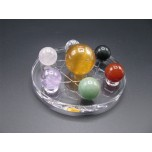 Gemstone Chakra Set with acrylic stand (20 mm / 30 mm Sphere & 4 inch OD stand)