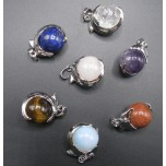 Gemstone Dolphin Sphere Pendant - Assorted Stones