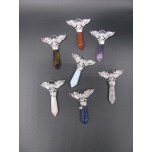 Gemstone Winged Skull Pendant - Assorted Stones