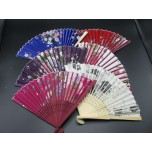 Wooden Chinese Fans - 6pcs in Various Styles and Finishes