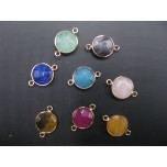 Gemstone Round Link Pendant - pack of 6 - Gold Finish/Various Stones