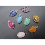 Gemstone Oval Link Pendant - pack of 6 - Gold Finish/Various Stones