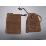 Velvet Pouch Large 4.5 Inch x 3.5 Inch 12 piece pack - Brown