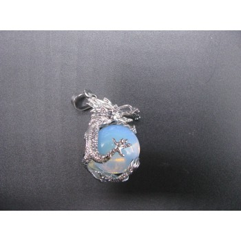 3-D Dragon Wrapped Gemstone Pendant - Assorted Gemstones