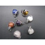 Small Dragon Wrapped Gemstone Pendant - Assorted Gemstones