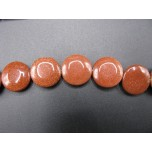14mm Disc Shaped Gemstone Bead Strand - Goldstone