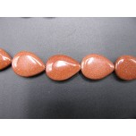 13mm x 18mm Tear Drop Shaped Gemstone Bead Strand -Goldstone