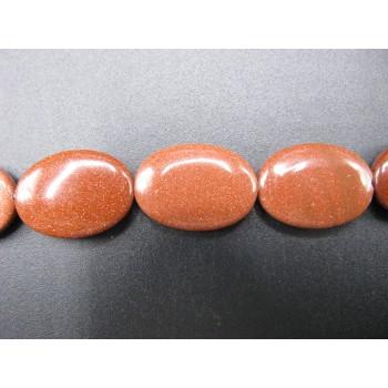 13mm x 18mm Egg Shaped Gemstone Bead Strand - Goldstone