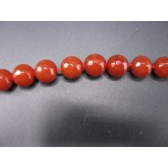16 inch 8mm Faceted Gemstone Round Bead Strand - Carnelian Agate