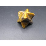 Merkaba Carved Fetish Bead 0.75 Inch - Tiger Eye