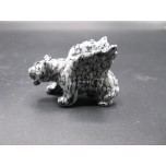 Panther with Wings 1.5 Inch Figurine - Snowflake Obsidian