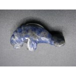 Manatee Carved Fetish Bead 0.75 Inch - Sodalite