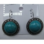 Disk style Gemstone Earrings- Turquoise Color
