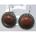 Disk style Gemstone Earring - Goldstone