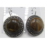 Disk style Gemstone Earrings - Tiger Eye