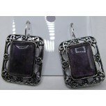 Rectangle style Gemstone Earrings - Amethyst