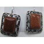 Rectangle style Gemstone Earring - Goldstone
