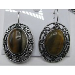Oval style Gemstone Earrings - Tiger Eye
