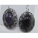 Oval style Gemstone Earrings - Amethyst