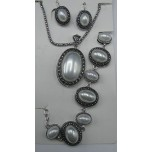 Shell Pearl 3-pc Necklace/Earring/Bracelet set - Oval