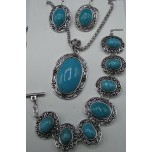 Turquoise Color 3-pc Necklace/Earring/Bracelet set - Oval