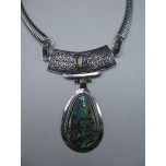 Gemstone Choker 16 Inch with Lobster Claw Clasp and 2 Inch Extension - Teardrop - Abalone Shell