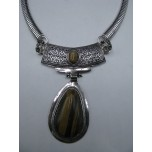 Gemstone Choker 16 Inch with Lobster Claw Clasp and 2 Inch Extension - Teardrop - Tiger Eye