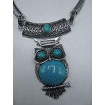 Gemstone Choker 16 Inch with Lobster Claw Clasp and 2 Inch Extension - Owl - Turquoise Color