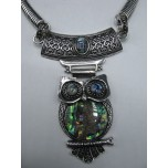 Gemstone Choker 16 Inch with Lobster Claw Clasp and 2 Inch Extension - Owl - Abalone Shell