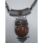 Gemstone Choker 16 Inch with Lobster Claw Clasp and 2 Inch Extension - Owl - Goldstone