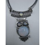 Gemstone Choker 16 Inch with Lobster Claw Clasp and 2 Inch Extension - Owl - Opalite